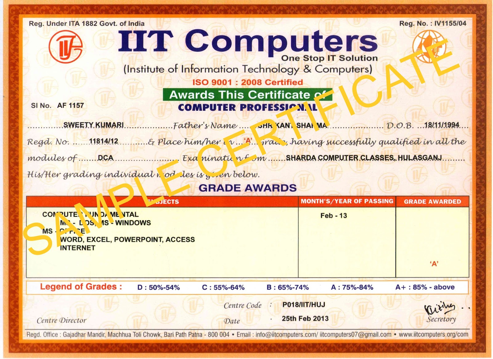 Sharda Computer Classes Sample Certificate – Computer Certificate Format
