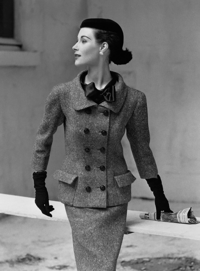Myrtle Crawford wearing Balenciaga tweed suit photographed by Frances McLaughlin-Gill for Vogue September 1952