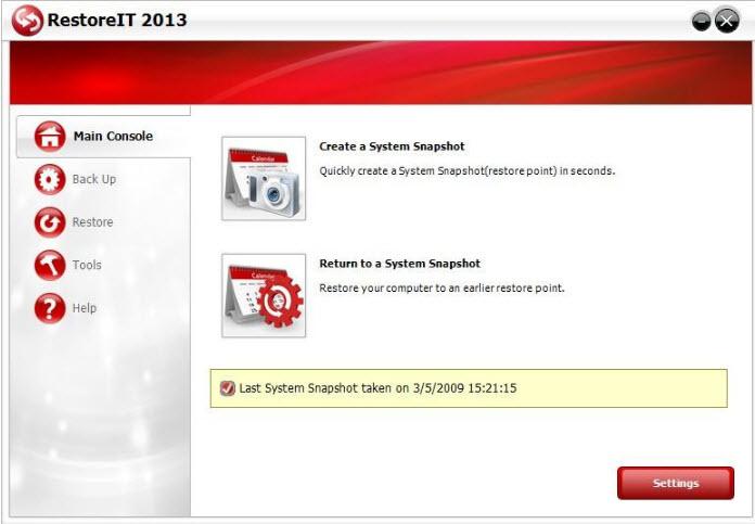restoreit main screen