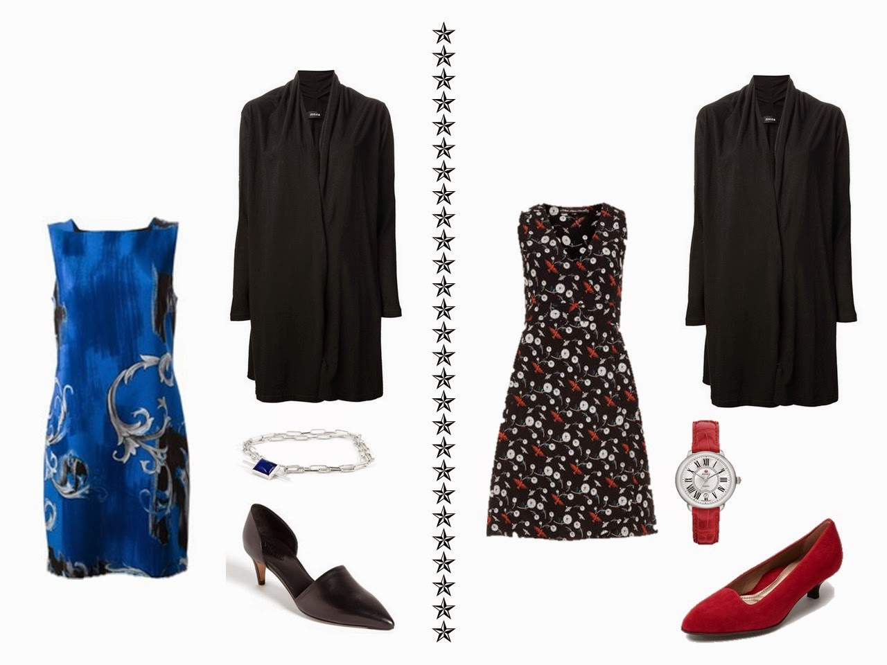 Black cardigan with a blue floral dress, and with a black, white and red floral dress