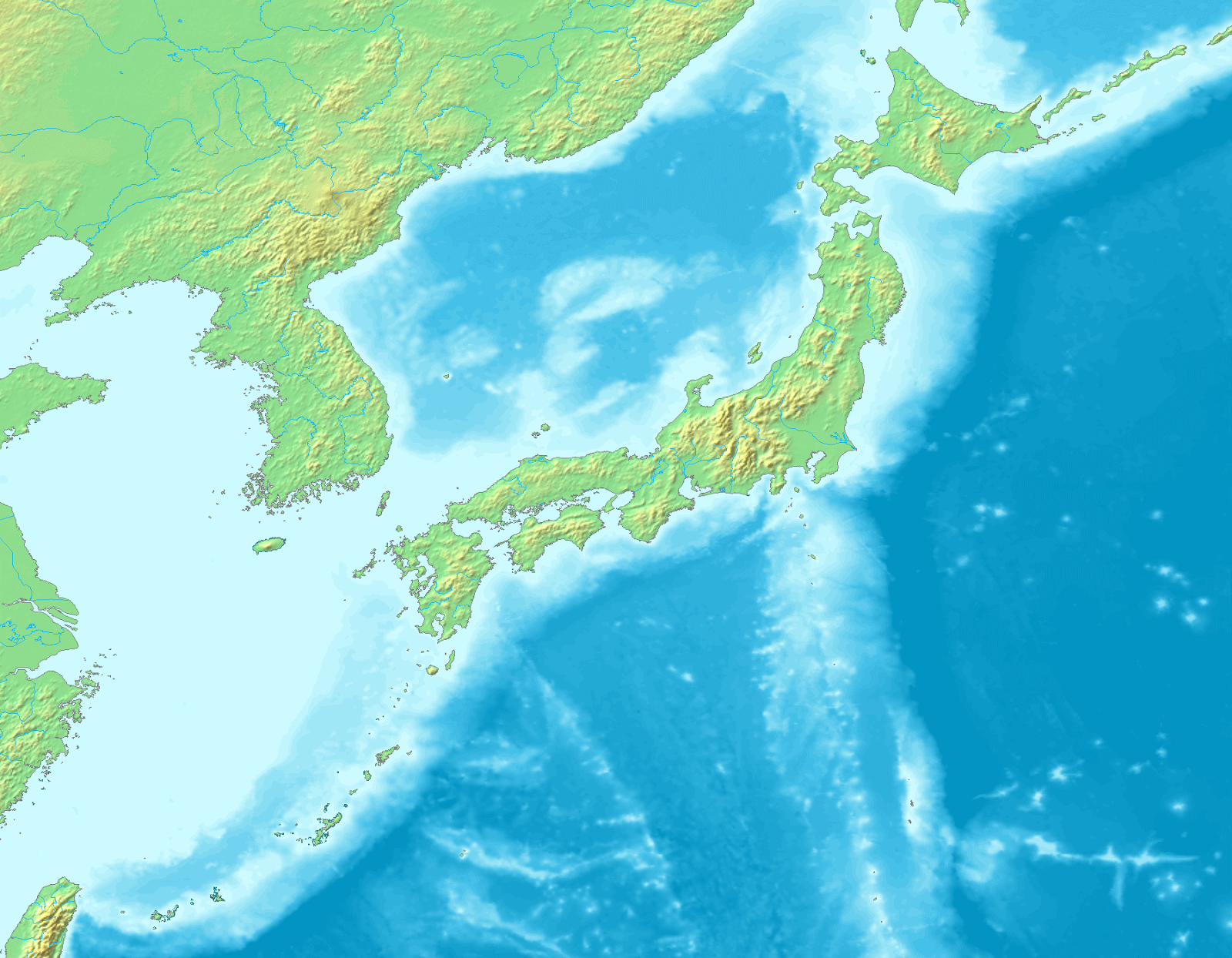 Large phyiscal map of Japan and surrounding area
