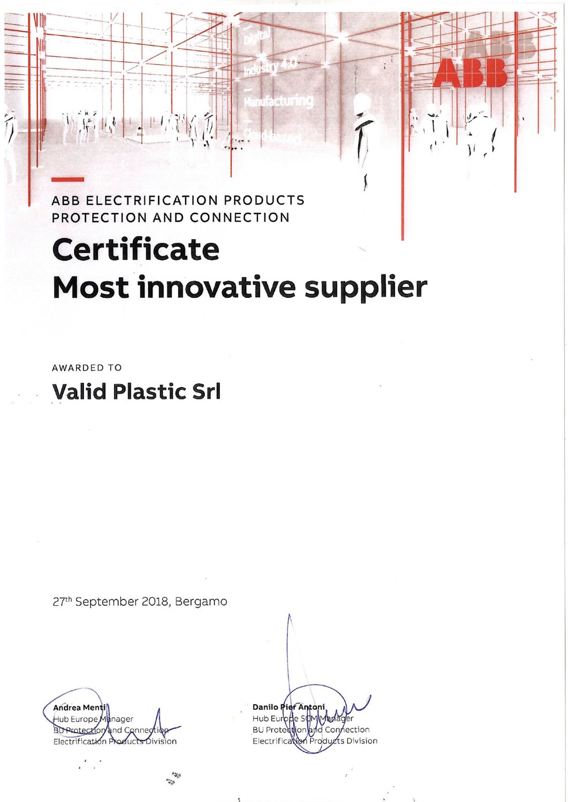 CERTIFICATE MOST INNOVATIVE SUPPLIER
