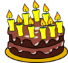 Dibujo de una tarta de chocolate con nueve velas encendidas