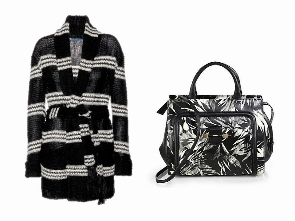a black and white Ralph Lauren cardigan, and a Jason Wu black and white print tote bag