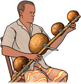ムベトを演奏する人の図 Mvet player