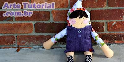 Como fazer boneca de pano com molde - Passo a Passo