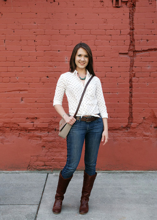 polka dot shirt with boots