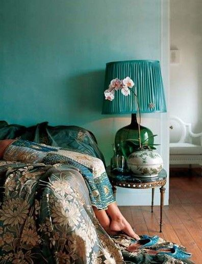 turquoise bohemian bedroom ideas lamb & blonde: blue-green bedrooms