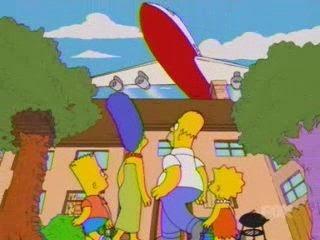 Aviones sobre la casa de los simpsons, krusty va a washington