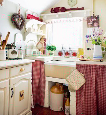 How to Renew Kitchen Cabinets with Romantic Curtains
