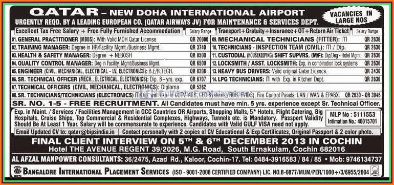 Large Vacancies For Qatar Airways European Company Free ...