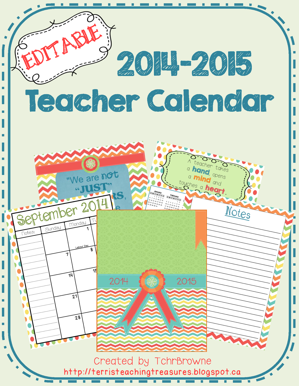 http://www.teacherspayteachers.com/Product/Editable-Teacher-Calendar-1320256
