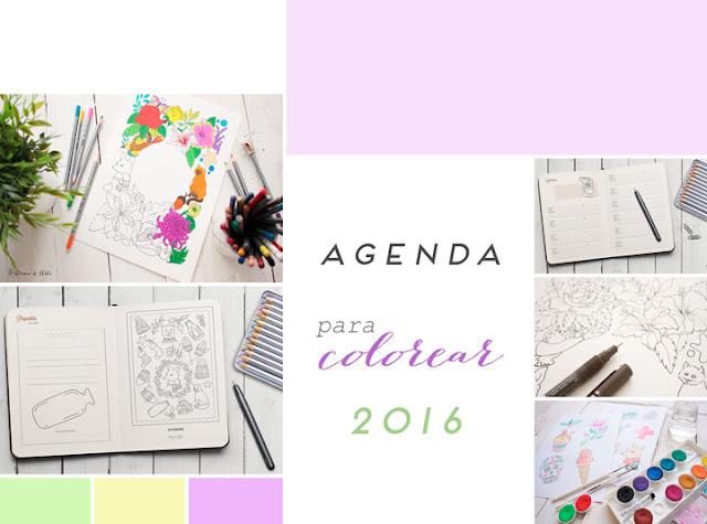 Moodboard agenda para colorear 2016