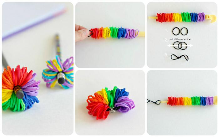 صنع زينة قلم من المطاطات الملونة loom band pencil topper