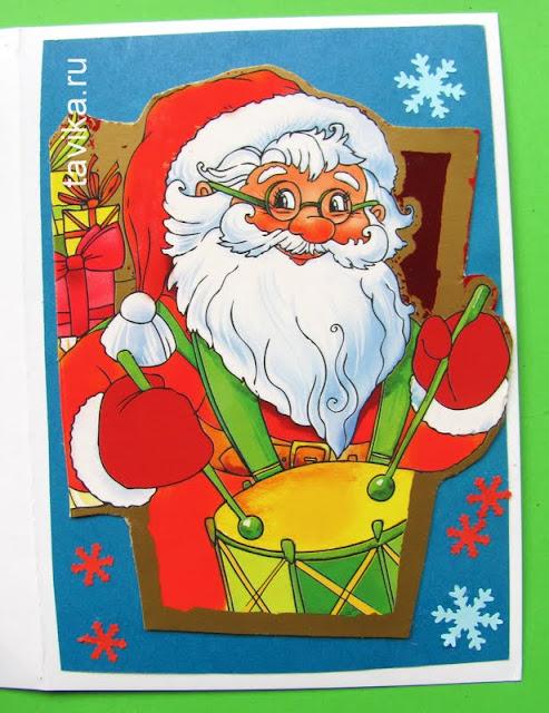 открытка к Новому году из упаковочного материала
