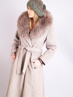 Vintage 1970's taupe colored wool wrap coat with matching shearling collar.