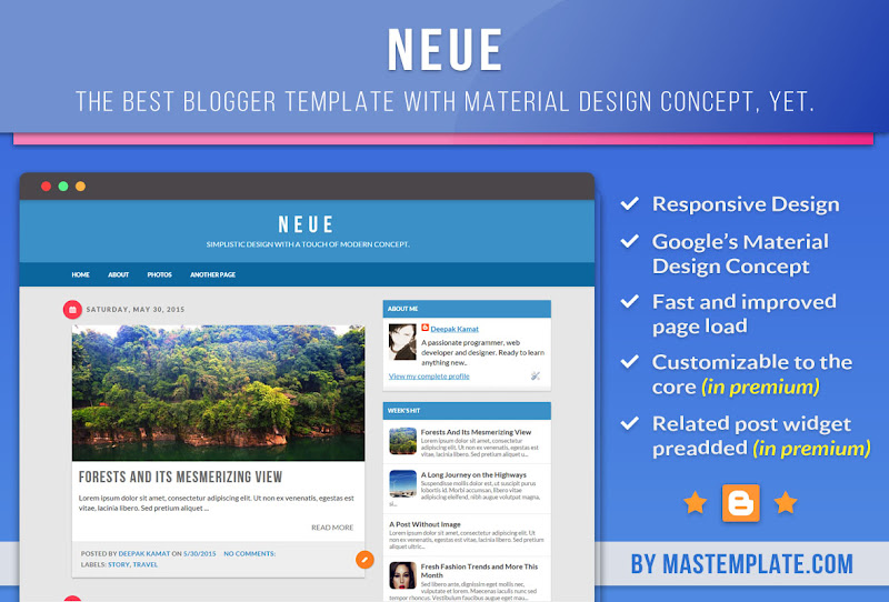 material design blogger template neue