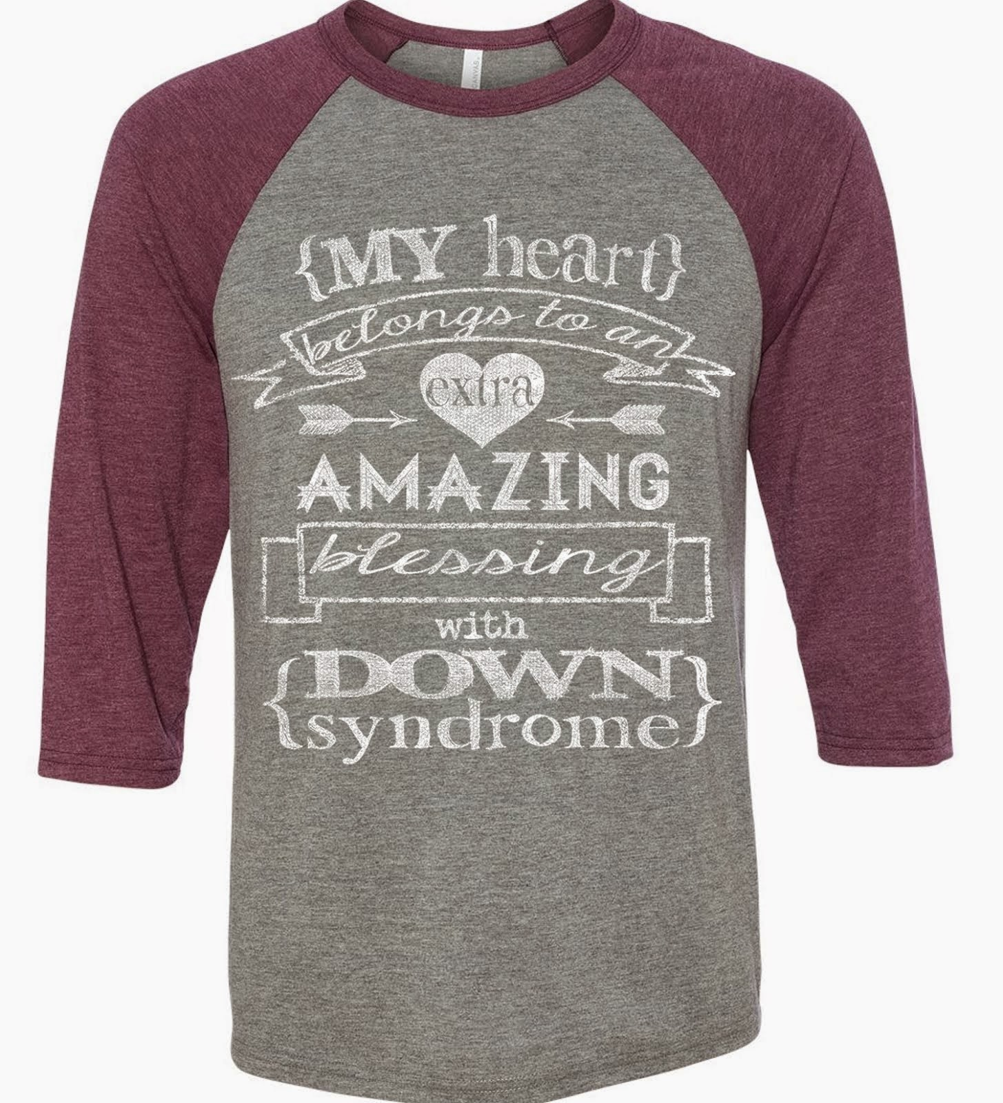 My Heart Belongs Grey/Maroon Triblend Raglan