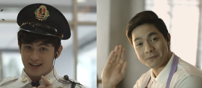 James Reid as a guard and Alden Richards as a bagger