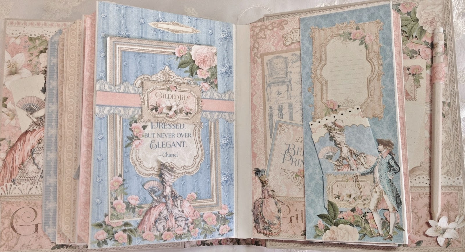 How to make scrapbook video - In This Video I Will Show How To Decorate The 4 Page Backside Finish With Flaps Using Graphic 45 Beautiful Gilded Lily Paper Collection