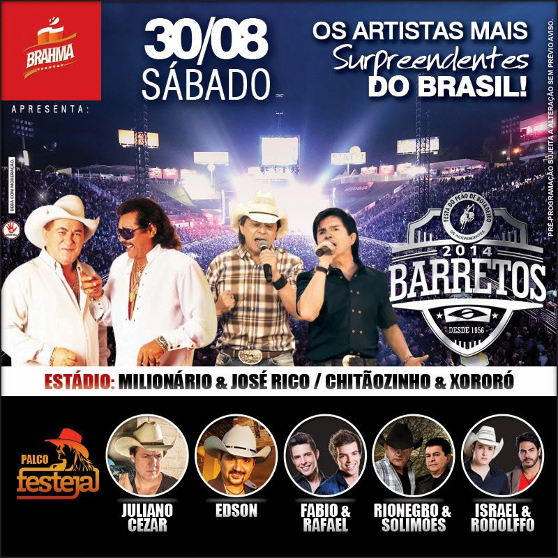 Programa��o da 59� Festa do Pe�o de Barretos 2014 - Dia 30/08/2014
