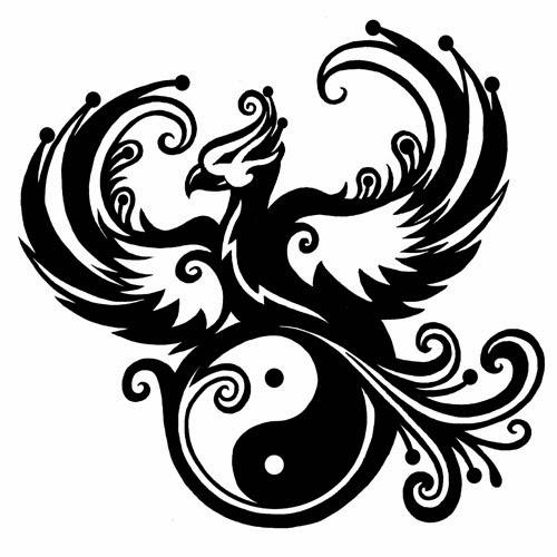 Phoenix Yin Yang tattoo stencil