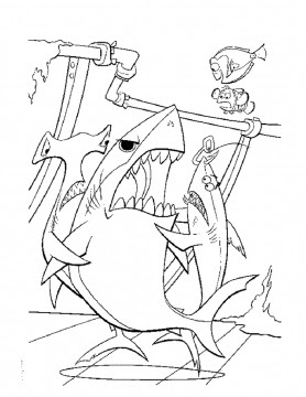 Finding Nemo Coloring Pages Bruce Evil Shark