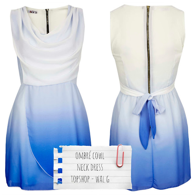 Topshop by Wal G - Vestido Ombré Cowl neck dress en azul - €44