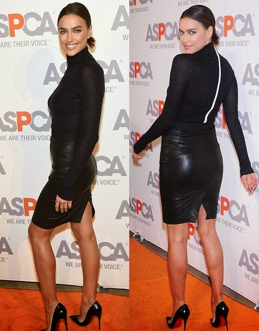 Well, we've seen Irina Shayk out and about, so here the Supermodel was spotted in a cute sweater and a leather pencil skirt at New York, USA on Thursday, October 16, 2014.