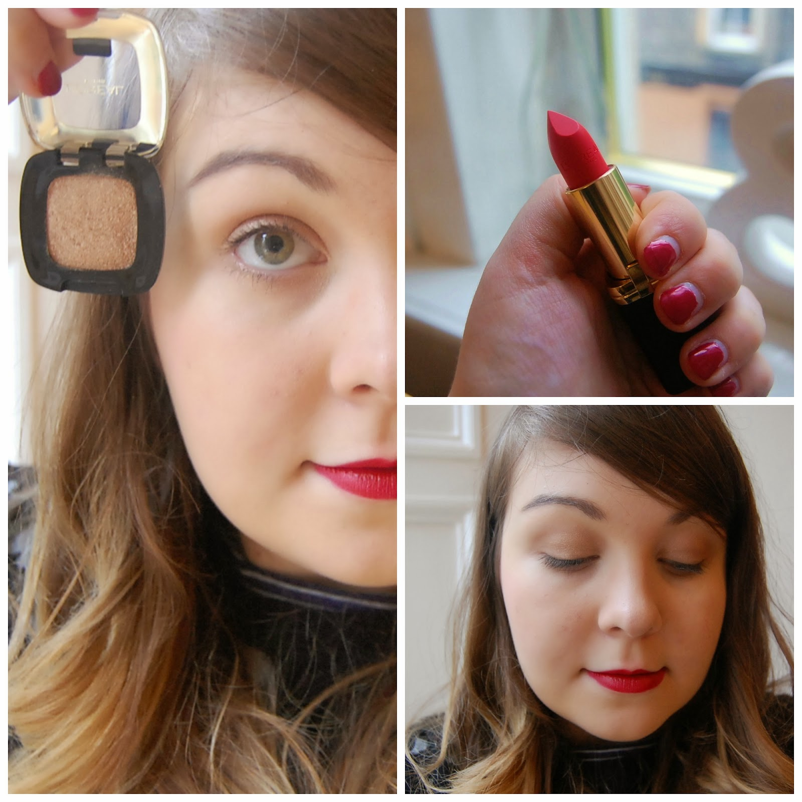 AW14 Red Lipstick Gold Eyes
