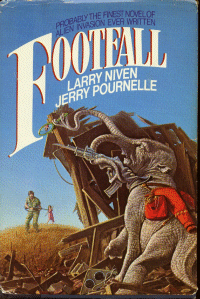 Cover image of the novel Foot fall by Larry Niven and Jerry Pournelle. Seen in image is an alien fi fighting some humans in US.