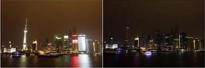 Xangai, China, durante a Hora do Planeta