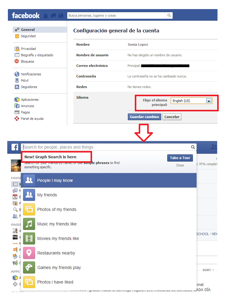 Cómo Activar el Graph Search de Facebook - SocialMedier
