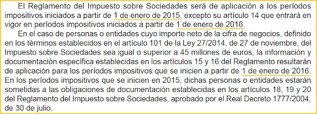 Reglamento del Impuesto de Sociedades (RD 634/2015) fecha efectos entrada en vigor