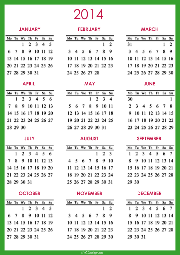 2014 Calendar Printable - A4 Paper Size - Red, Green, Navy Blue, White
