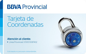 Tarjeta de Coordenadas BBVA Provinet BBVA Provincial