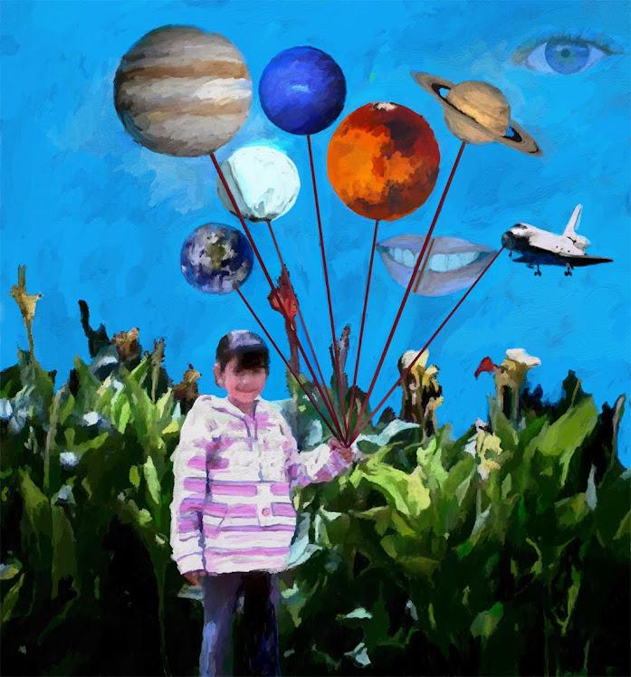 La petite Anne joue dans la cour avec les planètes