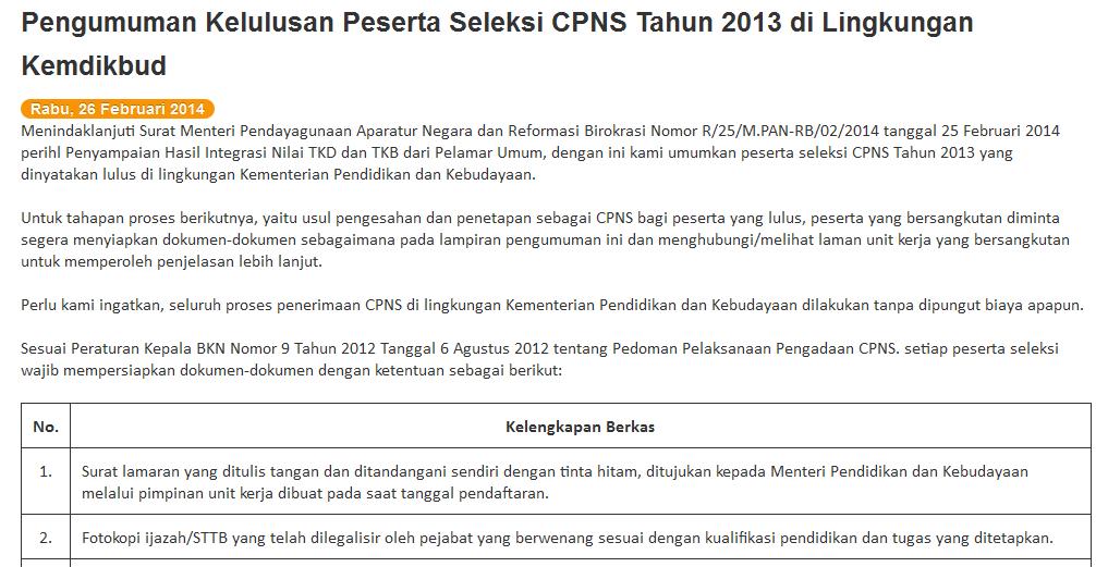 Pengumuman Kelulusan Tes CPNS Kemendikbud 26 Pebruari 2014