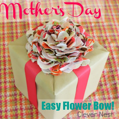 quick and easy fabric flower present topper! HGTV fabric Urban Blossom