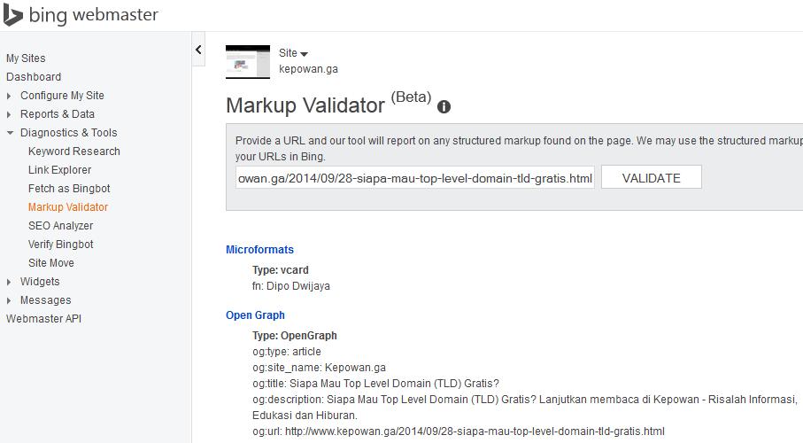 Kepowan-MemperbaikiDataTerstrukturSitusWebBlogBingWebmasterMarkupValidator.png | Markup Validator adalah sumber daya lainnya yang disediakan Bing Webmaster untuk membantu webmaster mengetahui apakah Markup yang diaplikasikan telah valid dengan cara menyampaikan URL.