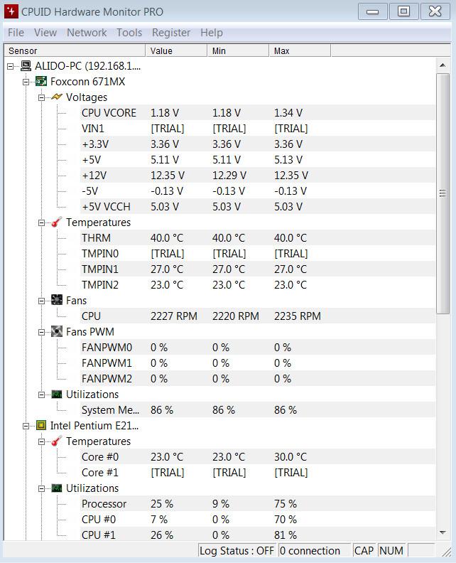 لمشاهدة المعلومات التفصيلية لجهاز الكمبيوتر HWMonitor Pro 1 32