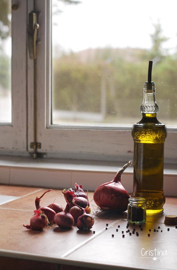 cebollas rojas,  aceite de oliva y pimienta