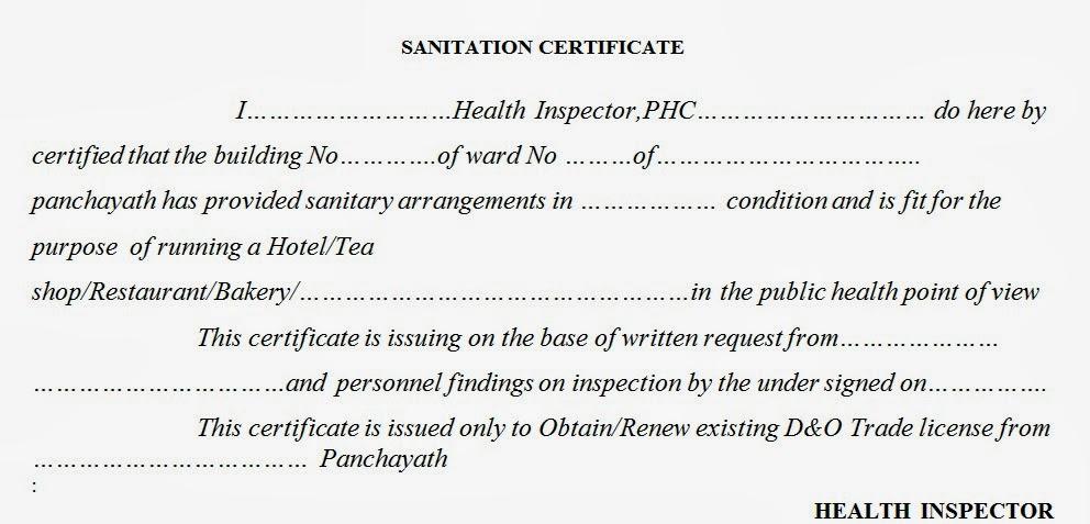 Sanitation Certificate Form Arogyajalakam