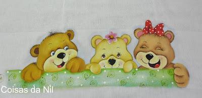 """""""fralda pintada com trio de ursinhos alegres"""""""