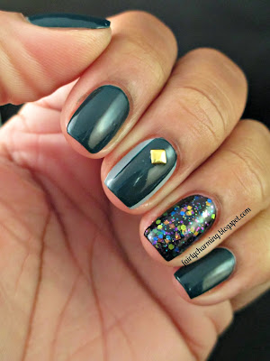 NOPI Khloe Had A Little Lam-Lam, Teal, Dark Teal, Dark Green, Glitter, Accent Nial, Indie, Indie Polish, Pretty Jelly Ghouls Night Out, Stud, Studs, Gold Studs, Simple, Nails, Nail Art, Nail Design, Mani