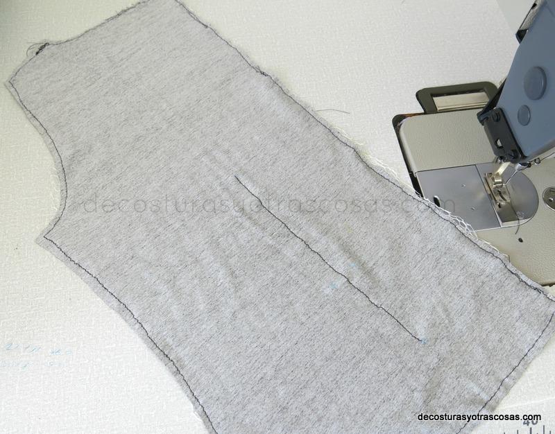 coser pinzas verticales en pieza espalda