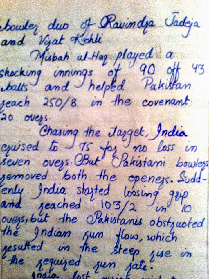 short essay on a cricket match Short essay on t20 cricket match click to continue a custom written essay sample on the role of art in the education, jobs, and economic status of european people in the 1500s the ap english literature and composition exam is 3 hours long and has two parts the free res.