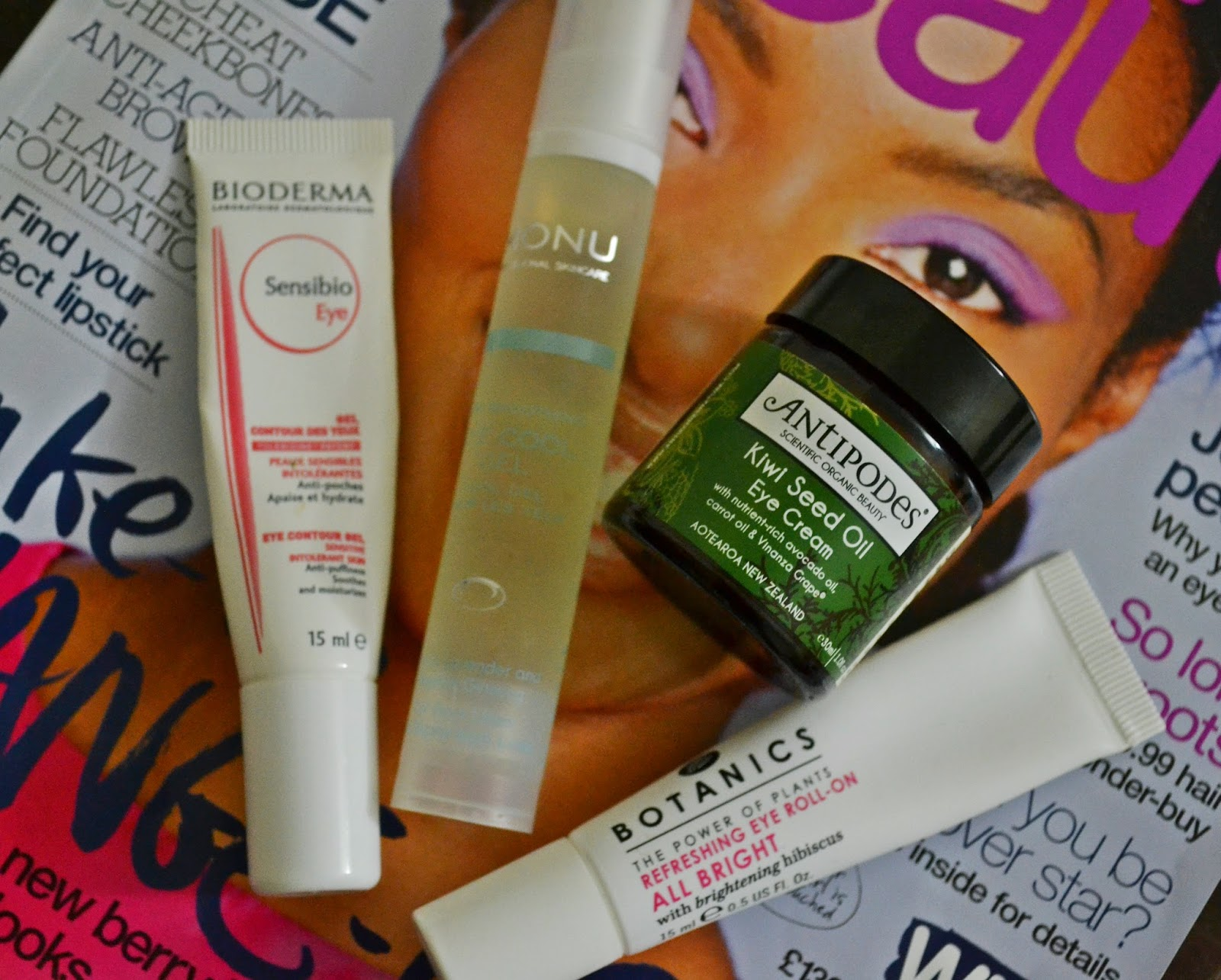 Eye Creams Review featuring Bioderma Sensibio Eye Contour Gel, Monu Professional Skincare Eye Care Gel, Antipodes Kiwi Seed Oil Eye Cream, Boots Botanics Refreshing Eye Roll-On Gel - Aspiring Londoner