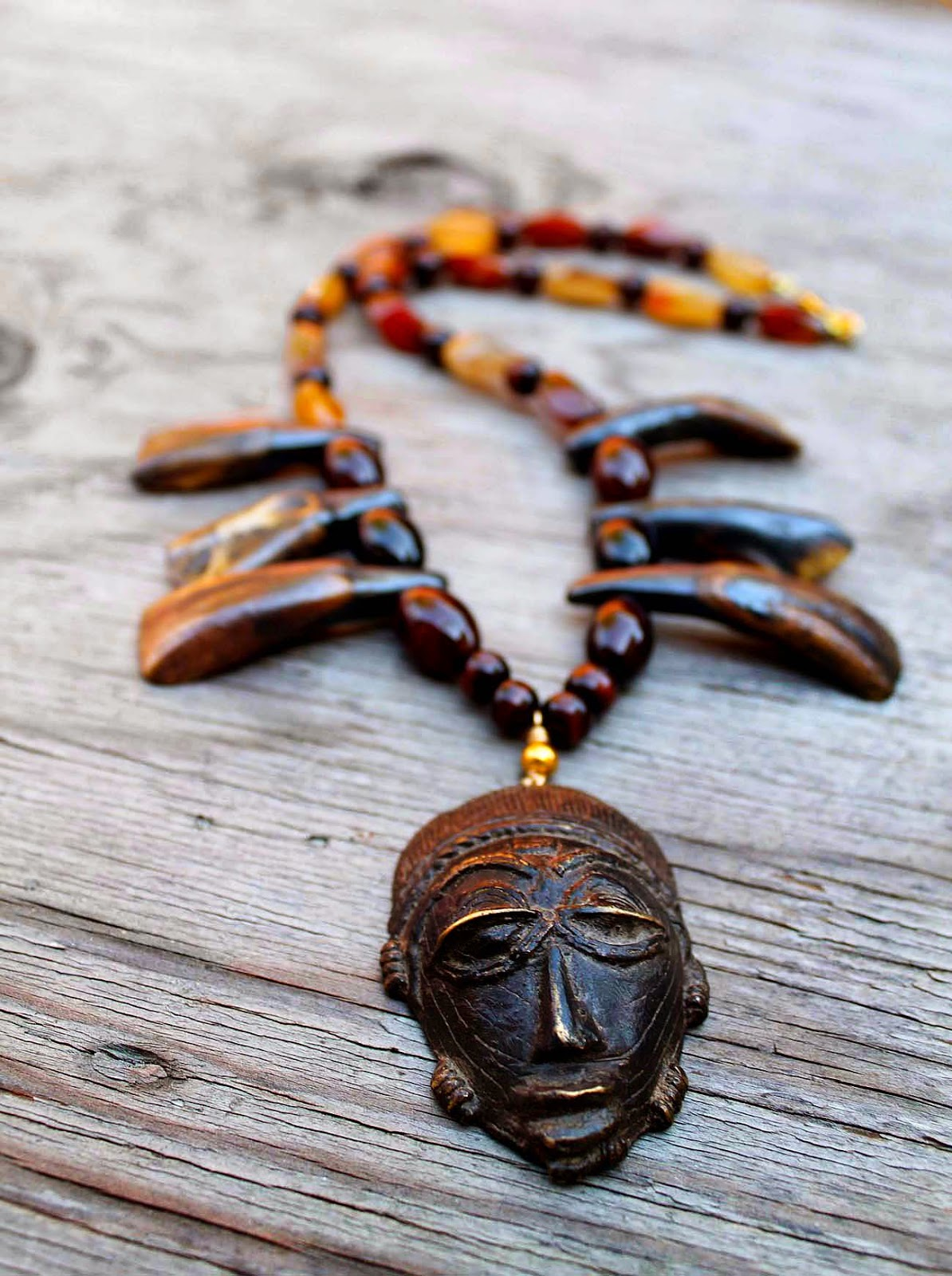 tribal african brass mask pendant necklace
