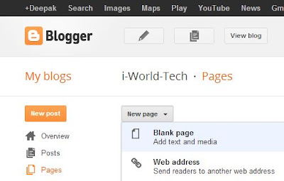 image of new page in blogger